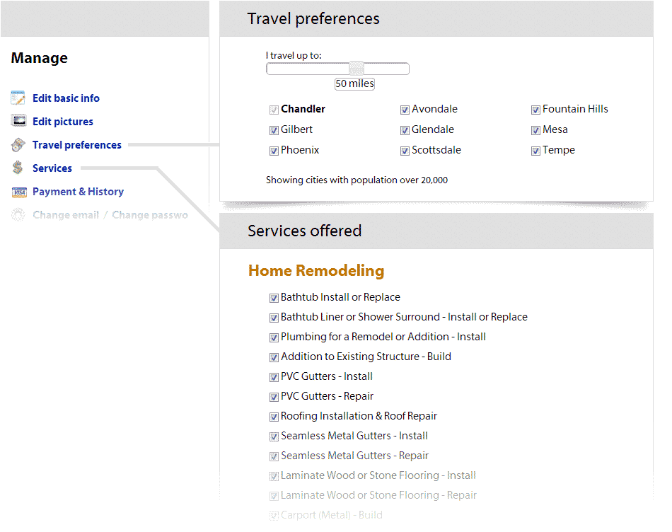 Edit services offered and travel preferences from your dashboard