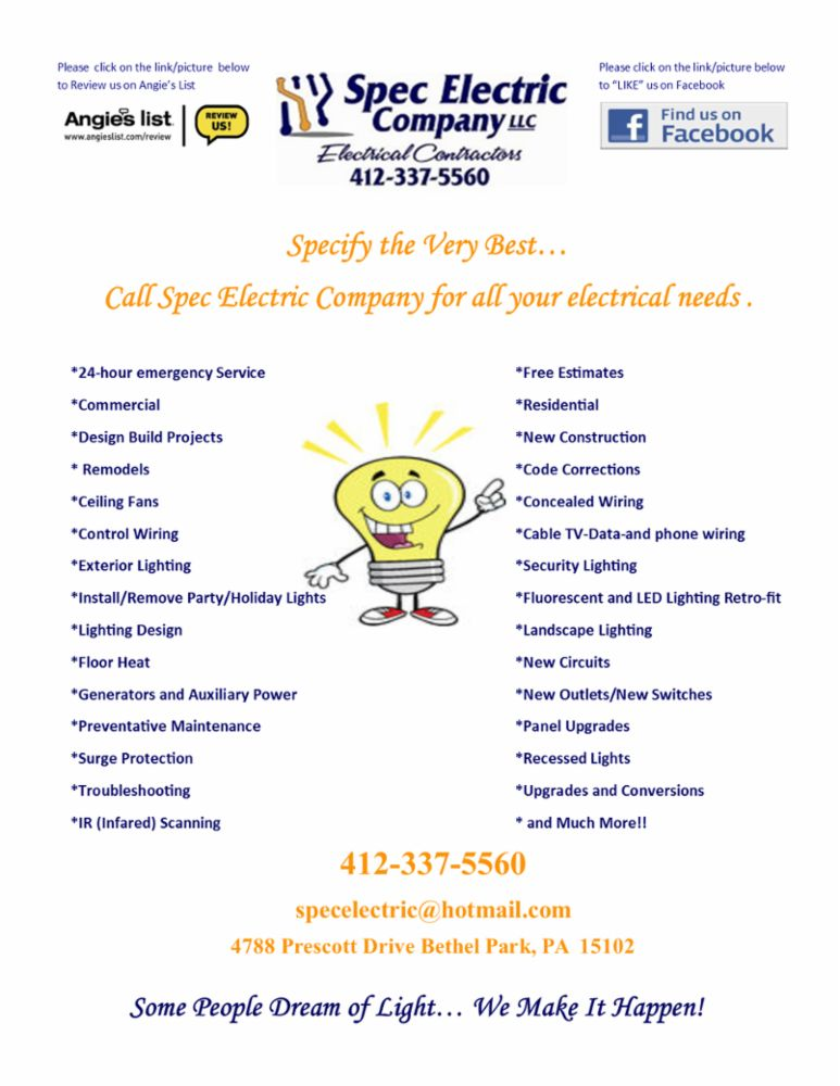 Electric Remodels New Construction In Bethel Park Pa