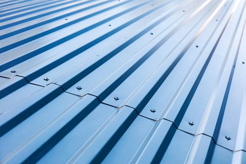 Blue aluminum roof with rivets