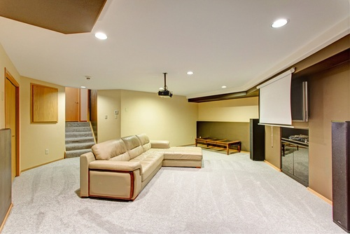 Basement remodeled into a theater room