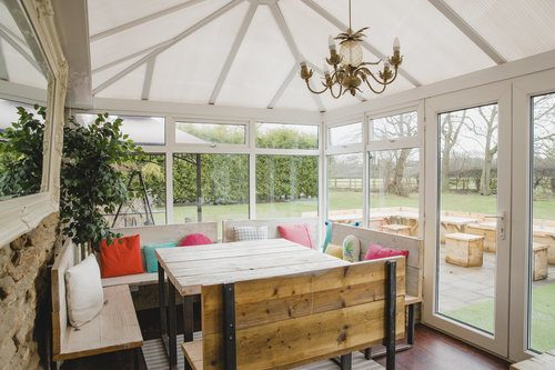 Bright four-season sunroom