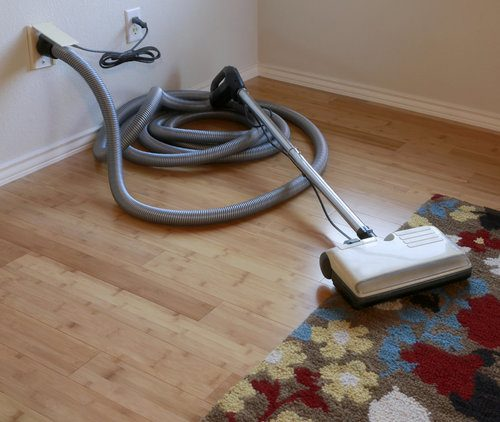 Central vacuum cleaner with a hose plugged into an outlet and next to a flowery carpet