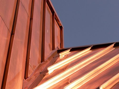 Flashing and copper roof of a house