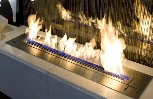 Modern fireplace burning on ethanol gas