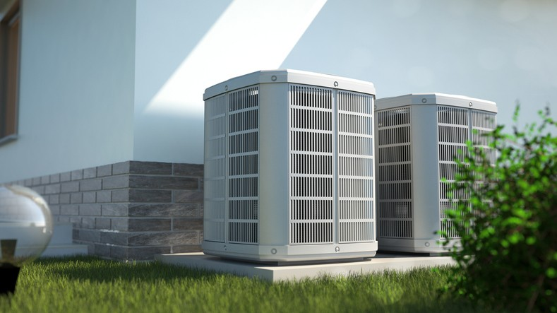 Air heat pumps beside the house