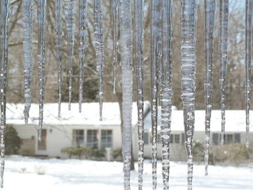 Ice dams in a snowy environment