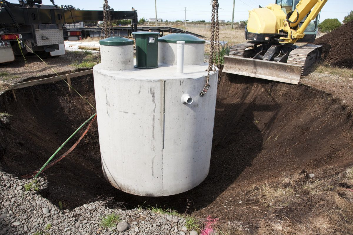 Septic tank system being installed