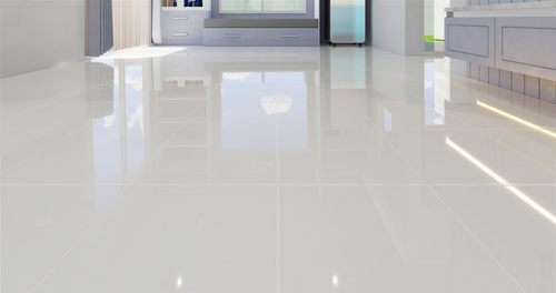 Porcelain tile floor installed