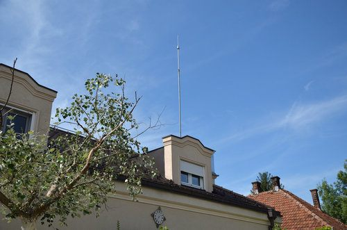 Installed Lightning Rod on House Roof Top