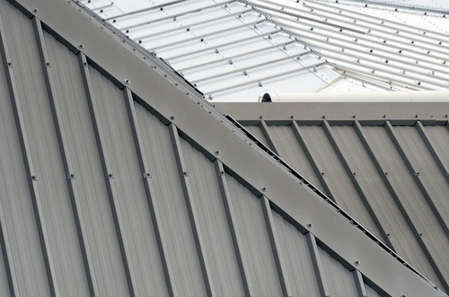 Aluminum metal roof of a house