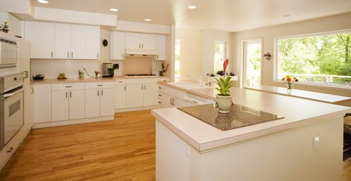 Renovated Open Kitchen Area with Beige Painted Walls