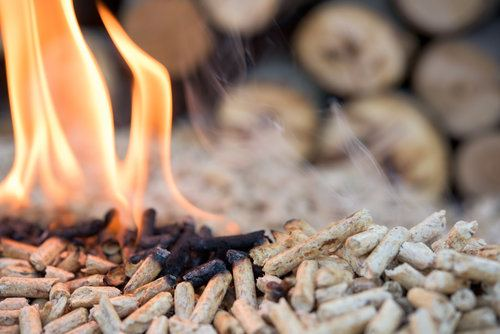 Pellets burning in a pellet stove