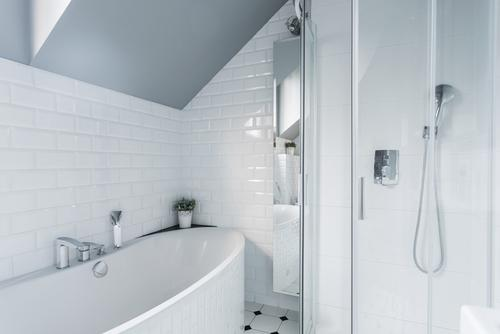 White Porcelain Tile Shower Bathroom Renovation
