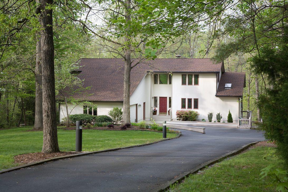 Asphalt driveway of a modern house