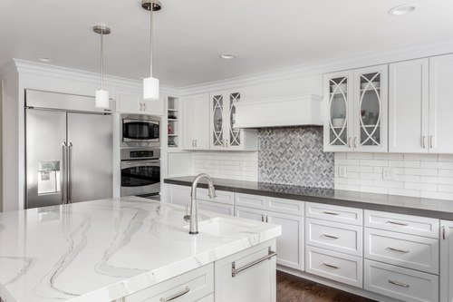 Marble stone slab countertop installed on a kitchen island