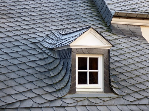 Synthetic gray slate roof