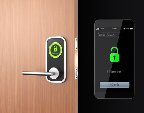 Smart lock controlled by a smartphone