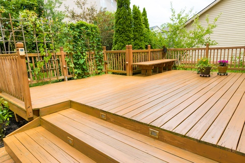 Exterior of a House with Wooden Deck