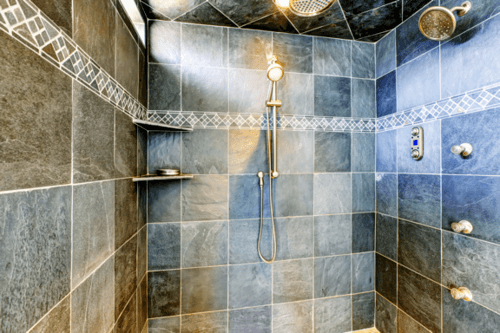 Modern bathroom walk-in shower with steam modern system