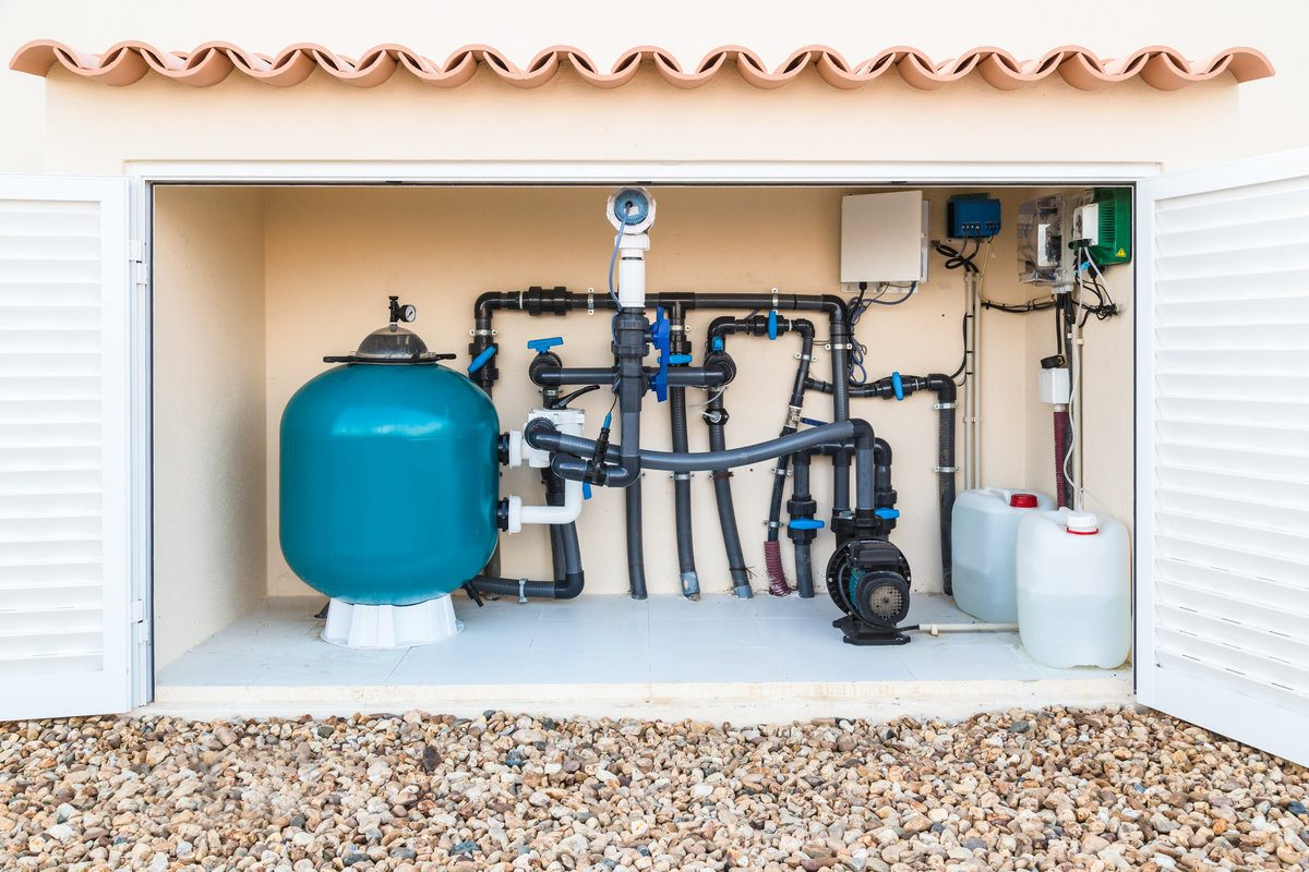 Salt water, swimming pool filter, valves and pumps in a hut built it