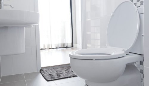 White-vented toilet installed in front of the bathroom entry