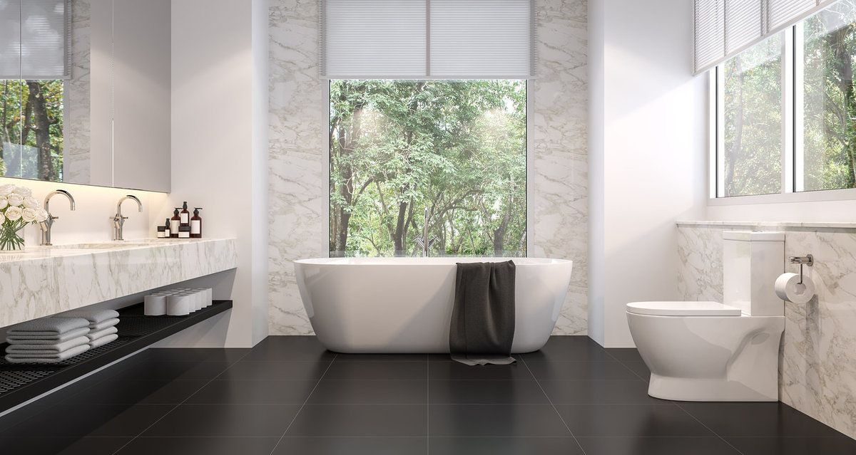 Luxurious bathroom with two piece toilet
