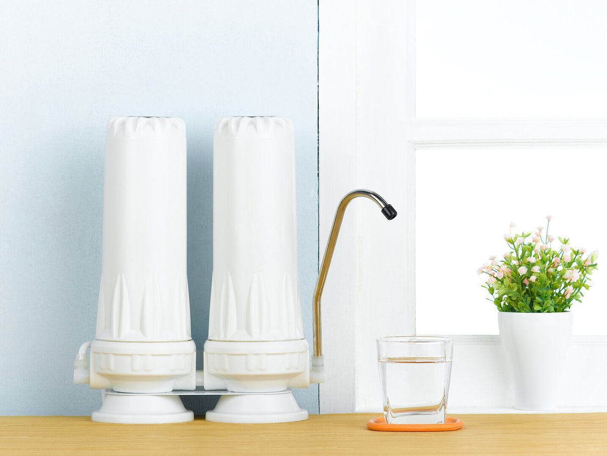 Water filters to purify  drinking water in the kitchen interior