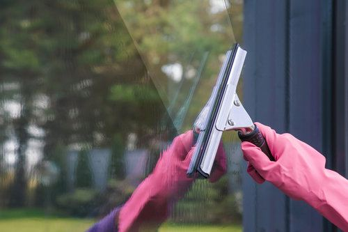 Professional cleaning a window