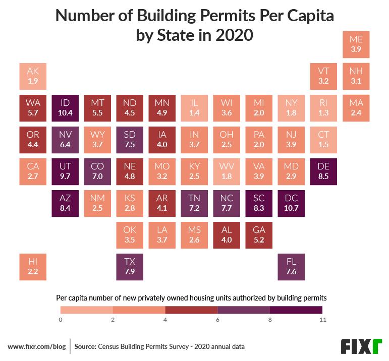 Construction Permits per Capita  State in 2020 US