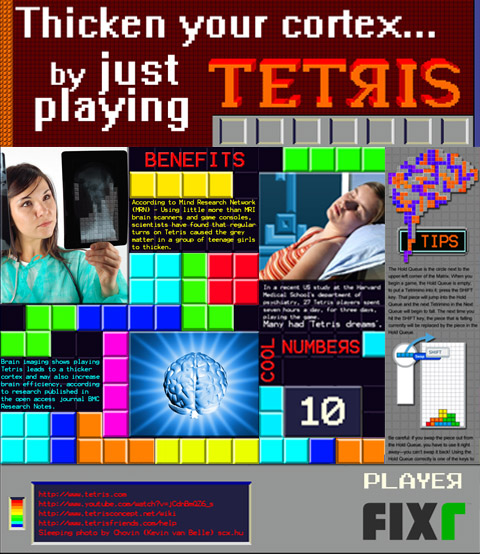 Thicken your cortex by just playing tetris