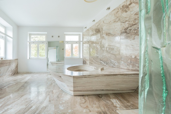 Bathroom stone floor that has been polished