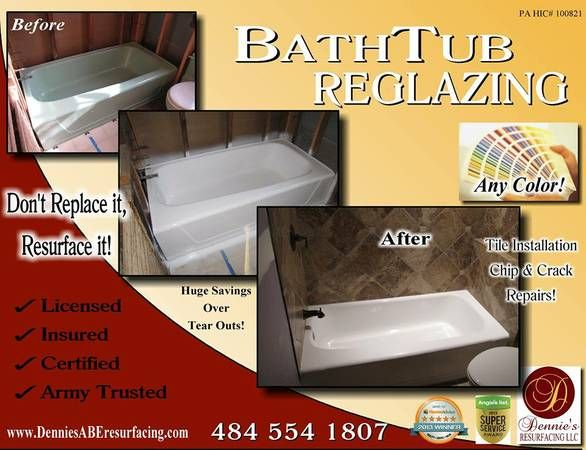 Reglazing Refinishing Dont Replace It Resurface It In Bethlehem - Bathtub restoration companies