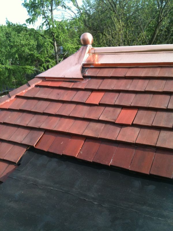 Slate Tile Shingle Flat Copper Roofing And Gutters In
