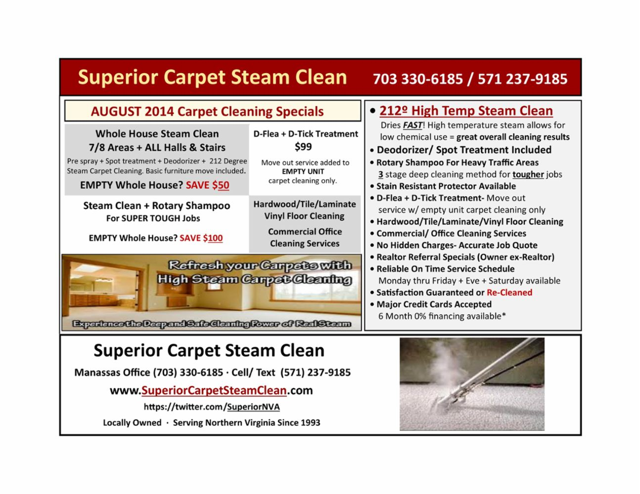 August 2014 flyer with special offers