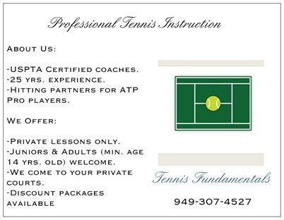 Professional Tennis Instruction in Aliso Viejo, CA - Tennis Fundamentals