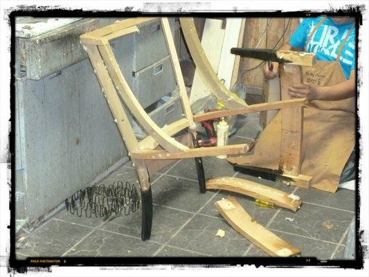 (Before) The Loosened Chair Frame Being Re Glued